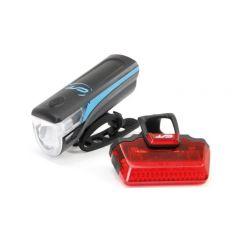 3102852 Far + stop CONTEC Speed Led USB - 20lux - negru/albastru