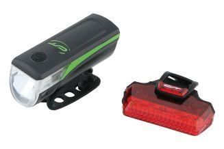 3102860 Far + stop CONTEC Speed Led USB - 20lux - negru/verde